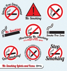 No smoking sign labels and icons vector