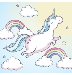 Cartoon magic unicorn vector image