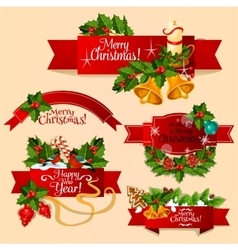 Christmas and new year red ribbon banner set vector
