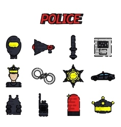 Police flat icon set vector image