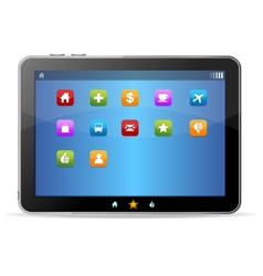 Black tablet like Ipade on white background and vector image