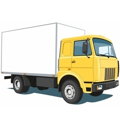 Yellow commercial truck vector