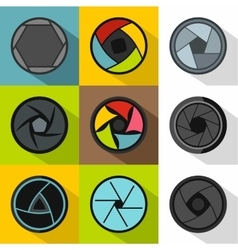 Kind of aperture icons set flat style vector