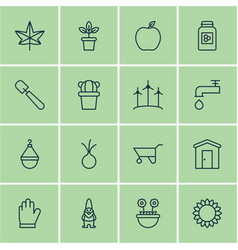Set of 16 planting icons includes shovel vector