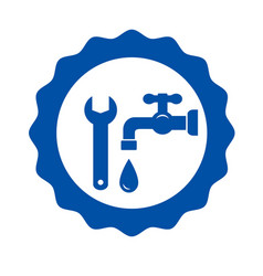 Round icon with tap and wrench vector