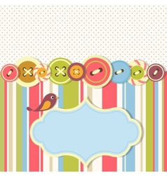 Frame with sewing buttons and bird vector