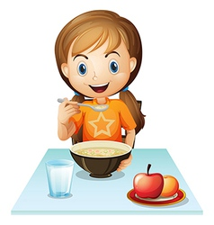 A smiling girl eating her breakfast vector