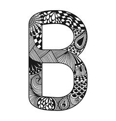 Zentangle stylized alphabet lace letter b in vector