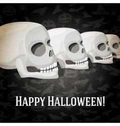 Happy halloween greeting card with human skulls vector image