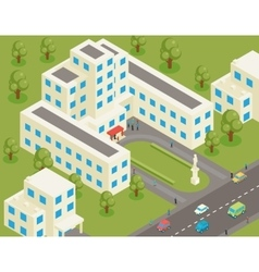 Isometric 3d flat university or college building vector