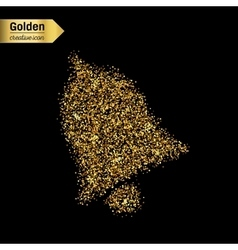 Gold glitter icon of bell isolated on vector