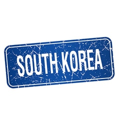 South korea blue stamp isolated on white vector