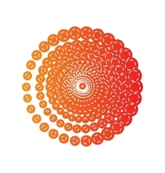Abstract technology circles sign orange applique vector