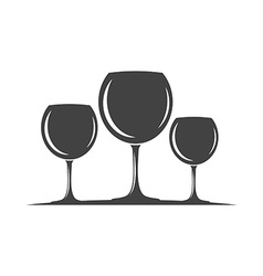 Three wine glasses black icon logo element flat vector