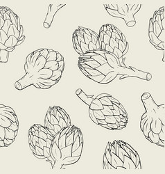 Artichoke seamless pattern with hand drawn plant vector