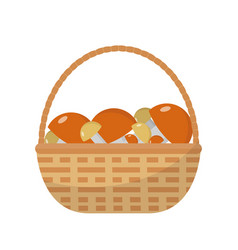 basket with mushrooms icon flat style isolated on vector image vector image
