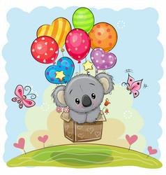 cute cartoon koala with balloons vector image vector image