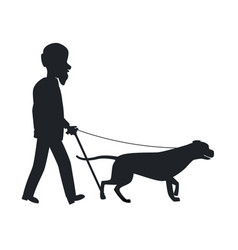 Dog guide silhouette old man holding pet vector