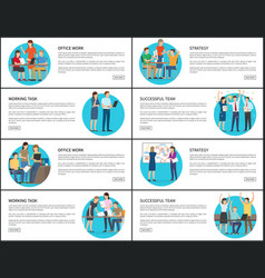 Eight office work strategy working team cards vector