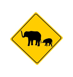 Elephants warning sign vector image