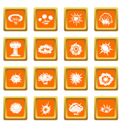 explosion icons set orange vector image