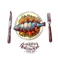 Fish for dinner vector