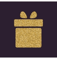 Gift box icon present symbol gold sparkles and vector