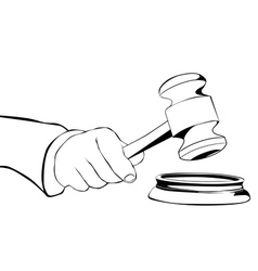 hand with judicial hammer vector image vector image