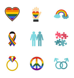 homosexual icons set flat style vector image