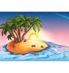 island with palm trees and treasure vector image vector image