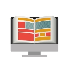 Isolated ebook and computer design vector