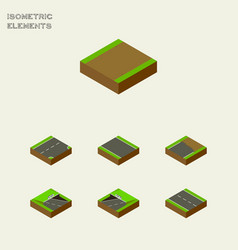 Isometric road set of unfinished underground vector