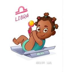 LIBRA horoscope sign Baby Girl lies on the scales vector image vector image