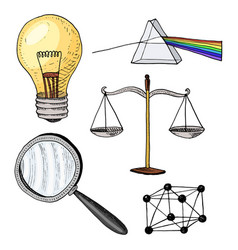lightbulb and prism crystal lattice and scale vector image vector image