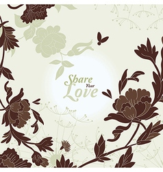Love Flowers Elegant Card vector image