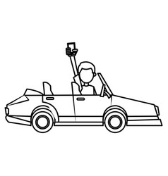 Man holding smartphone in car image outline vector