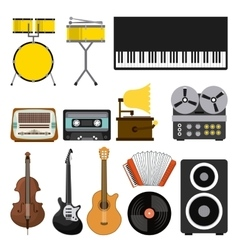 music set icons pop art style vector image vector image
