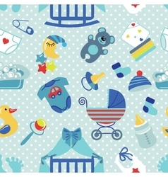 Newborn Baby boy seamless patternPolka dot vector image