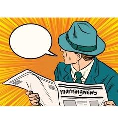 Newspaper reader reaction pop art vector image