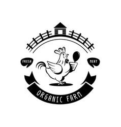 organic farm chicken meat logo vector image vector image