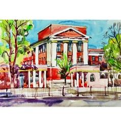 Original watercolor painting of kiev building vector