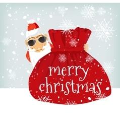 Santa claus standing near christmas bag vector