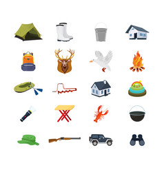 Set of hunter fisherman objects equipment vector