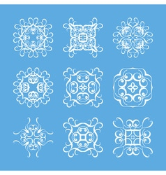 Set of monogram ornate mandalas elegant circular vector