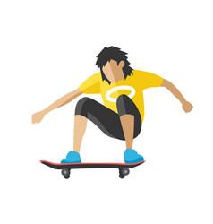 Skateboarder jump doing trick skate park extreme vector