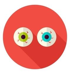 Spooky eyeballs circle icon vector