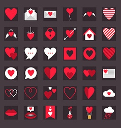 St valentines day flat design icon set love vector