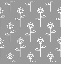 stylized line flower gray seamless pattern vector image vector image