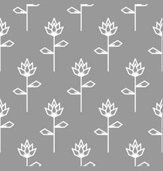 Stylized line flower gray seamless pattern vector