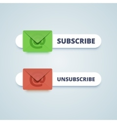 Subscribe and unsubscribe buttons with envelope vector